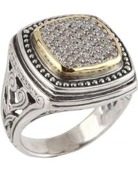 Konstantino - Asteri Ornate Square Pave White Diamond Ring - Lyst
