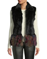 Adrienne Landau - Multicolor Hem Rabbit & Fox Fur Vest - Lyst