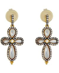Freida Rothman - Pave Crystal Clover Drop Earrings - Lyst