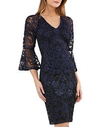 JS Collections - V-neck Bell-sleeve Beaded Soutache Cocktail Dress - Lyst