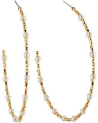 Lydell NYC - Pearly Beaded Hoop Earrings - Lyst