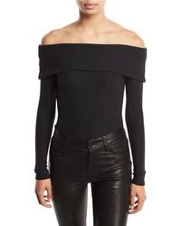 Romeo and Juliet Couture - Ottoman-knit Off-the-shoulder Bodysuit - Lyst