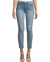 7 For All Mankind - Gwenevere Distressed Skinny Ankle Jeans - Lyst