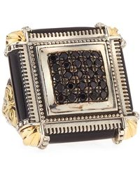 Konstantino - Silver & 18k Square Glossy Black Agate & Spinel Ring - Lyst