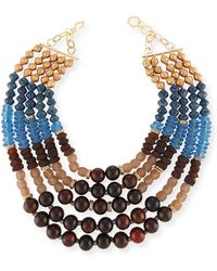 Akola - Five-strand Beaded Necklace Blue/brown - Lyst