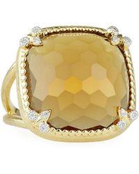 Jude Frances - 18k Citrine Cushion Fleur Cocktail Ring W/ Diamonds - Lyst