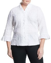 Go> By Go Silk - Ruffle-sleeve Puckered Poplin Shirt - Lyst