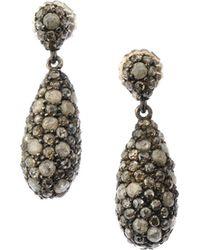 Bavna - Black Silver Teardrop Earrings With Champagne/gray Diamonds - Lyst