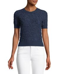 Michael Kors - Cropped Short-sleeve Jacquard Sweater - Lyst