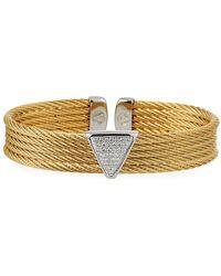 Alor - Multi-row Bangle W/ Diamond Pave Triangle Golden - Lyst