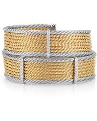 Alor - 18k Gold Two-tone Wide Bangle W/ Diamonds - Lyst