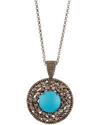 Bavna - Round Turquoise & Polki Diamond Pendant Necklace - Lyst