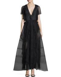 Sachin & Babi - Nina Deep-v Ruffled Organza Evening Gown - Lyst