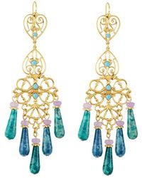 Jose & Maria Barrera - Agate & Crystal Filigree Chandelier Earrings - Lyst