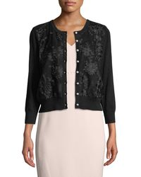 Karl Lagerfeld - Floral-embroidered Pearly-button Cardigan - Lyst