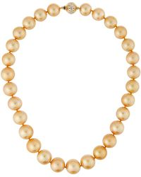 Belpearl - 14k Golden South Sea Pearl Necklace 18l - Lyst