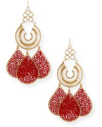 Devon Leigh - Red Teardrop Chandelier Earrings - Lyst