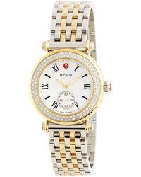 Michele - Two-tone Diamond Watch Head - Lyst
