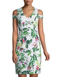 Donna Ricco - Cold-shoulder Floral Cocktail Sheath Dress - Lyst