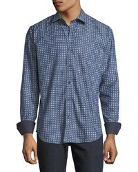 Bugatchi - Men's Shaped-fit Squares Woven Sport Shirt - Lyst