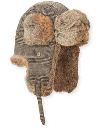 Neiman Marcus - Wool-blend Glen Plaid Trapper Hat - Lyst