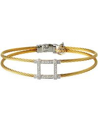 Alor - 2-row Diamond Square Bangle Gold - Lyst