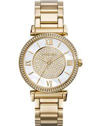 MICHAEL Michael Kors - Caitlin Rhinestone Golden Stainless Steel Watch - Lyst