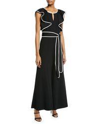 Neiman Marcus - Sleeveless Ruffle Belted Jumpsuit - Lyst