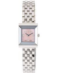 Gucci - Stainless Steel Square G Frame Bracelet Watch - Lyst