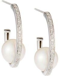 Belpearl - 14k White Gold Diamond Hoop & Pearl Earrings - Lyst