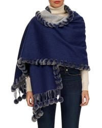 Gorski - Double-face Cashmere/wool Stole With Rex Rabbit Fur - Lyst