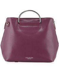e9208b7f45 Lyst - Halston Ring-embellished Textured-leather Tote