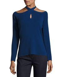 Elie Tahari - Layden Keyhole Crossover-neck Sweater - Lyst