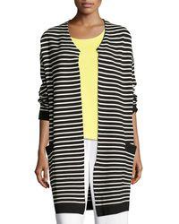 Joan Vass - Striped Long Sweater Coat - Lyst