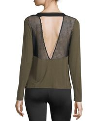 Body Language Sportswear - Gigi Vent Long-sleeve Mesh Open-back Pullover Top - Lyst