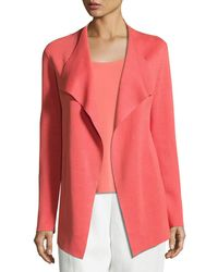 Eileen Fisher | Open Interlock Silk and Cotton-Blend Jacket | Lyst