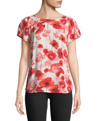 Cece by Cynthia Steffe | Floating Poppies Short-sleeve Blouse | Lyst