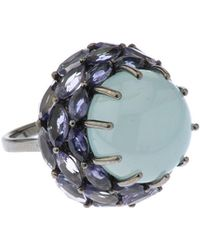 Bavna - Round Silver Ring With Aquamarine & Iolite - Lyst