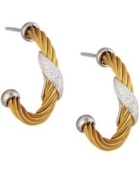 Alor - Classique Yellow Steel & 18k Diamond Twist Hoop Earrings - Lyst