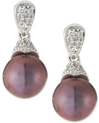 Belpearl - 14k White Gold Diamond Pave & Pearl Drop Earrings - Lyst