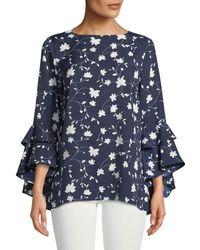 Neiman Marcus - Floral-print Cascading Ruffle-sleeve Blouse - Lyst