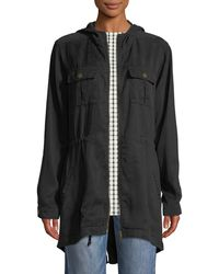 Three Dots - Hooded Twill Utility Jacket - Lyst