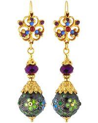 Jose & Maria Barrera - Cloisonne Linear Drop Bead Earrings - Lyst