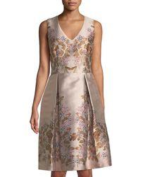 Max Studio - Sleeveless Floral Brocade Dress - Lyst
