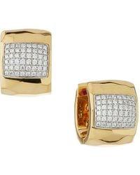 Roberto Coin | Martellato 18k Huggie Hoop Earrings W/ Pave Diamonds | Lyst