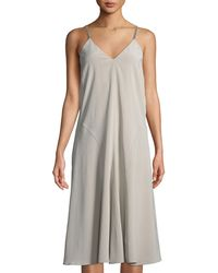 5131eca8fc10c Lyst - Brunello Cucinelli Ruched Sleeveless Turtleneck Midi Dress in ...
