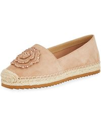 Karl Lagerfeld - Abby Suede Espadrille Slip-on Flat With Flower - Lyst