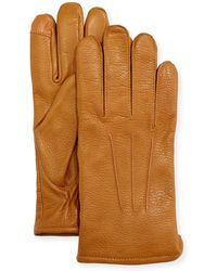 Neiman Marcus - Pebbled Leather Tech Gloves - Lyst