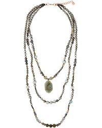 Nakamol - Layered Crystal Pendant Necklace. Gray - Lyst