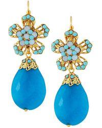 Jose & Maria Barrera - Jade & Crystal Flower Drop Earrings - Lyst